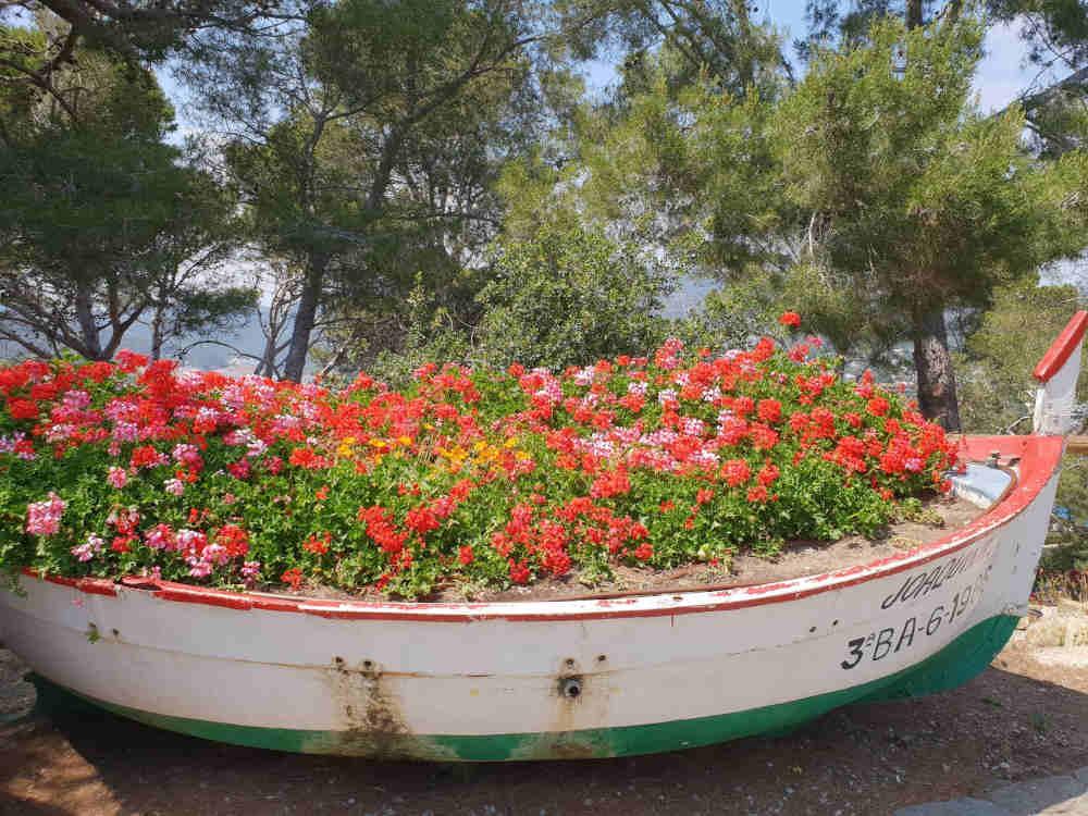pot de fleurs petit bateau catalan
