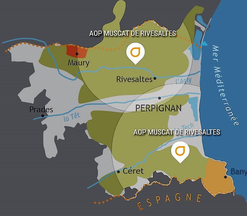 aop carte pays catalan vignobles pyrénées orientales