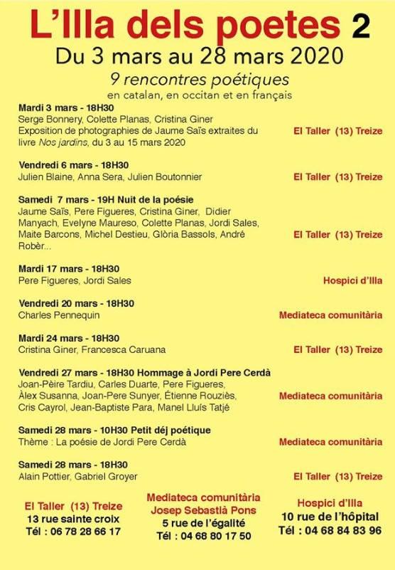 Pyrénées orientales, Illa dels Poetes, 3-28 mars, Heures d'ouverture, événement